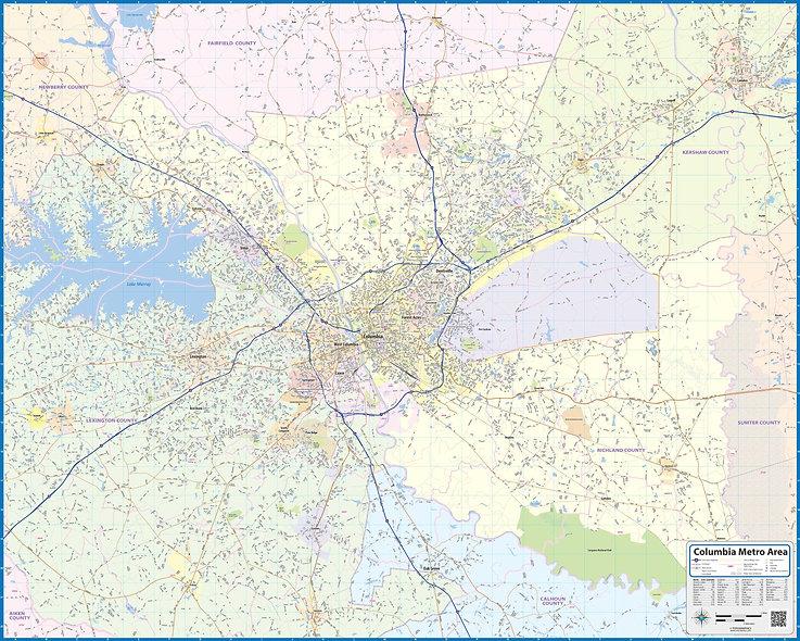 Columbia SC Laminated Wall Map