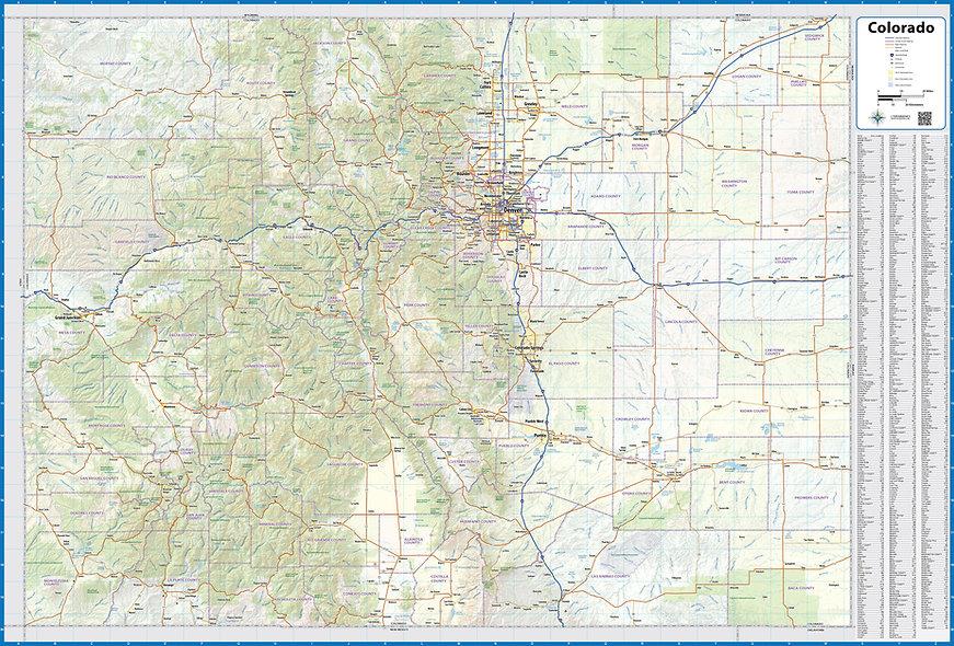 Colorado Laminated Wall Map
