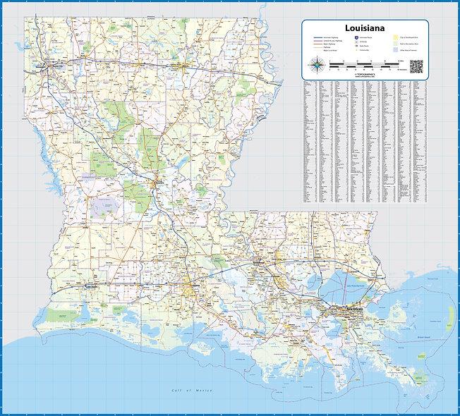 Louisiana Laminated Wall Map