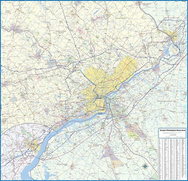 Greater Philadelphia Metro Area Laminated Wall Map