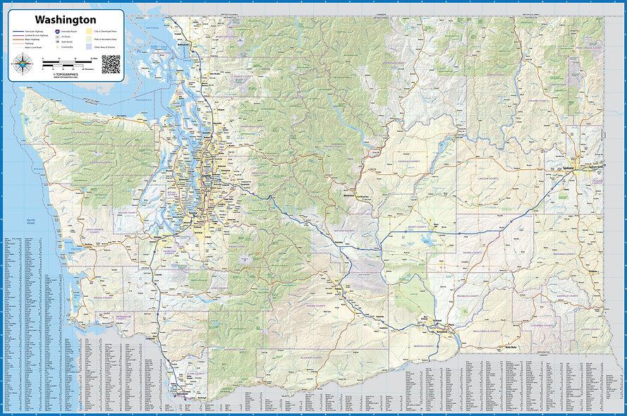 Washington State Laminated Wall Map
