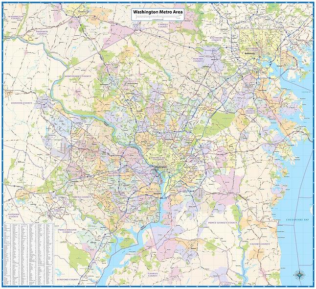 Washington DC Metro Area Wall Map