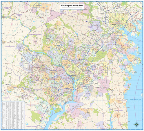 Washington Metro Area Wall Map on