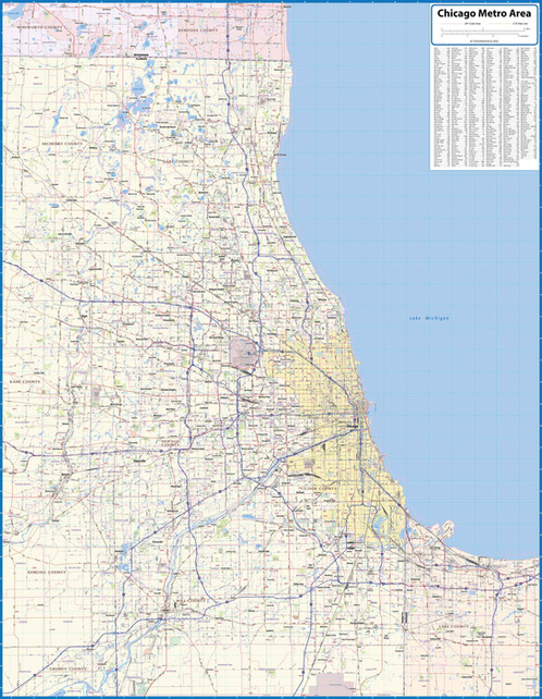 Chicago Metro Area Laminated Wall Map on