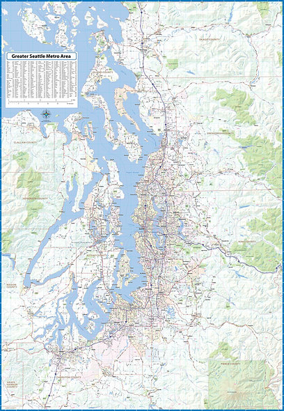 Greater Seattle Metro Area Laminated Wall Map