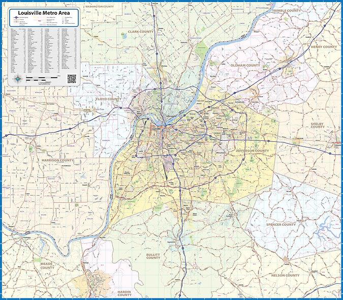 Louisvillle Metro Area Laminated Wall Map