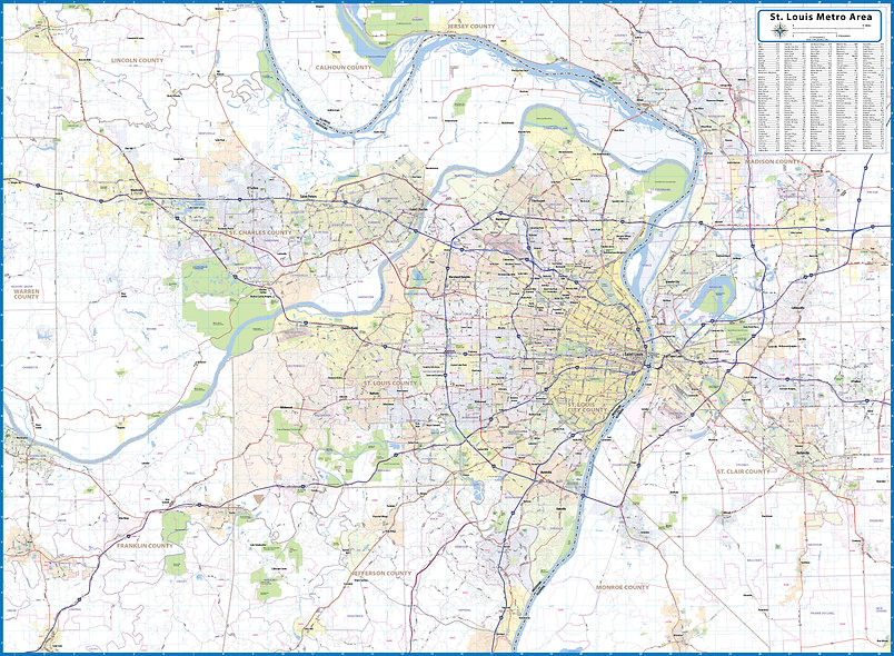 St. Louis Laminated Wall Map