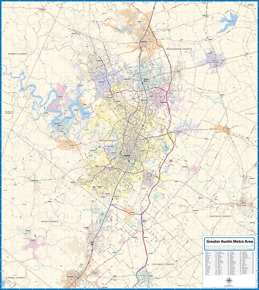 Greater Austin Metro Area Laminated Wall Map