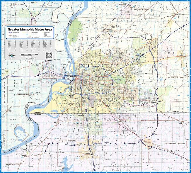 Memphis Metro Area Laminated Wall Map