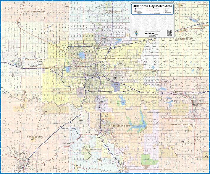 Oklahoma City Metro Area Laminated Wall Map