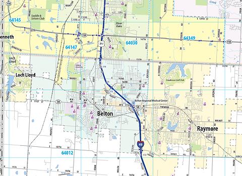 Kansas City Metro Area Laminated Wall Map
