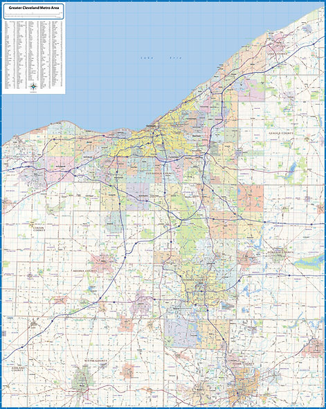 Greater Cleveland Metro Area Laminated Wall Map