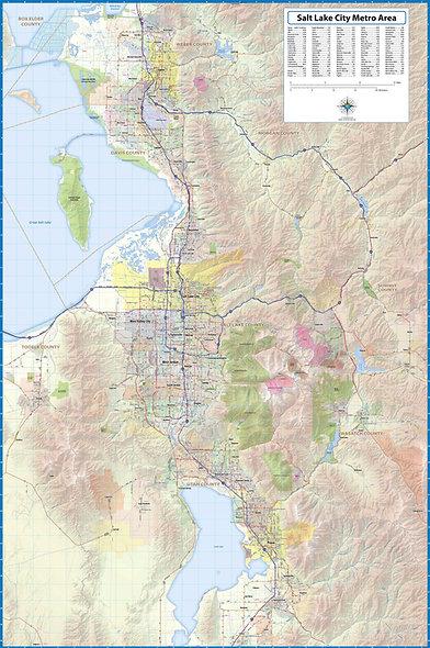 Greater Salt Lake City Laminated Wall Map