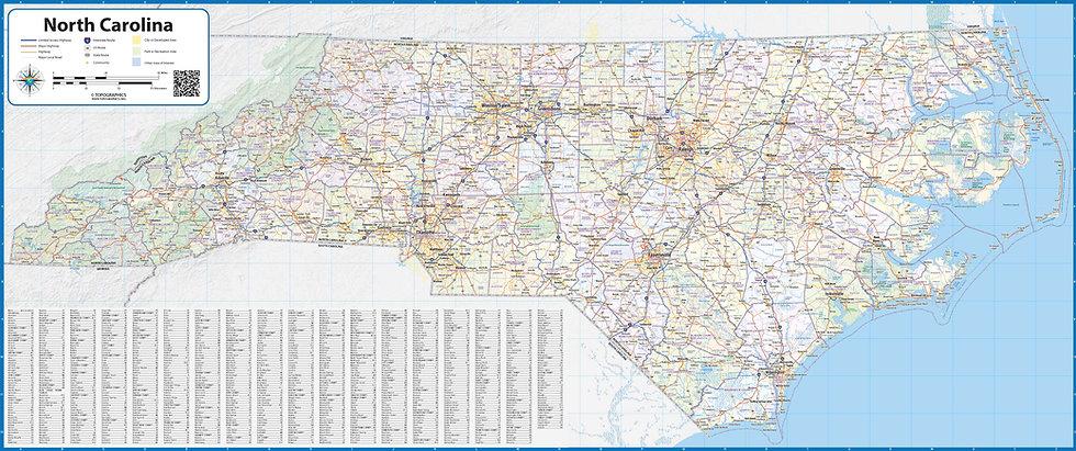 North Carolina Laminate Wall Map