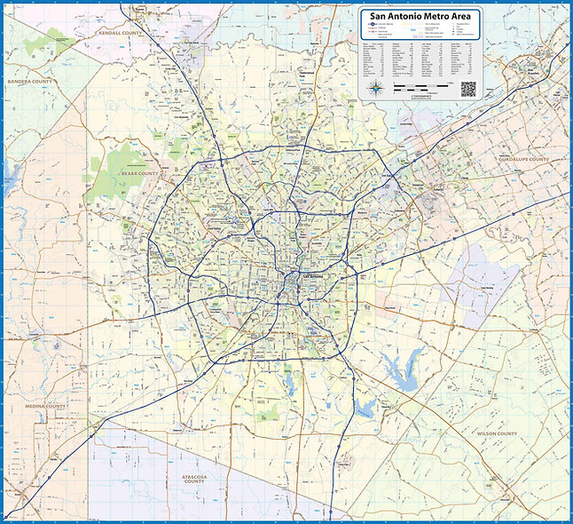 San Antonio Area Laminated Wall Map