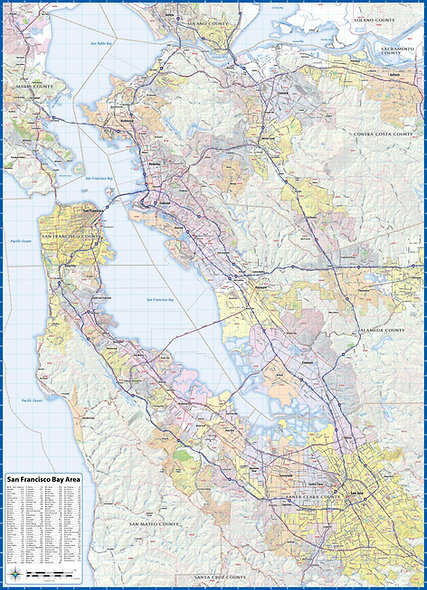 "San Franciso Bay Area Laminated Wall Map (42"" wide 58"" high)"