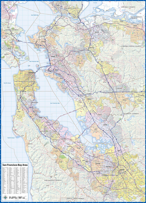 """San Franciso Bay Area Laminated Wall Map (42"""" wide 58"""" high) on"""