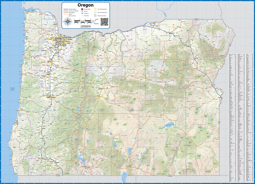Oregon Laminated Wall Map