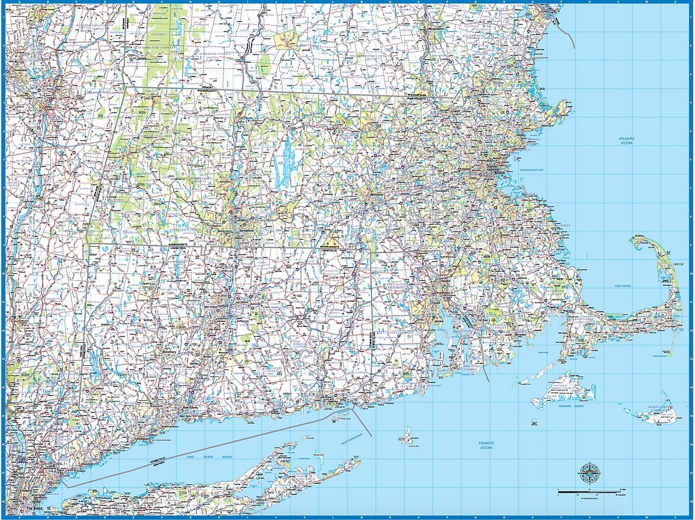 Map Of England Counties And Towns.Southern New England Laminated Wall Map