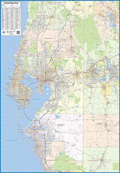 Tampa Bay Area Laminated Wall Map