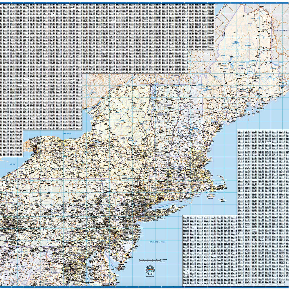 Northeast US Laminated Wall Map | topographics