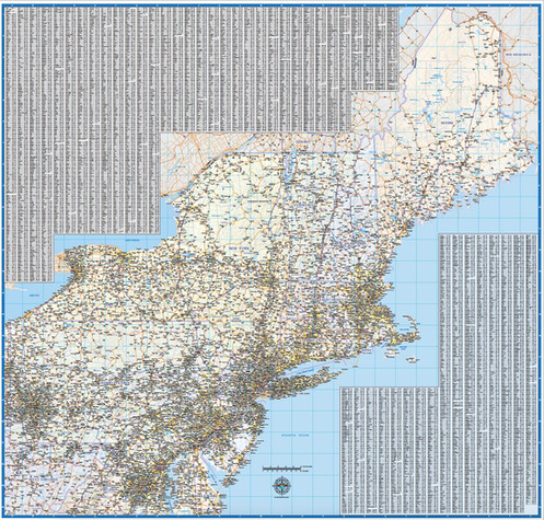 Northeast US Laminated Wall Map on