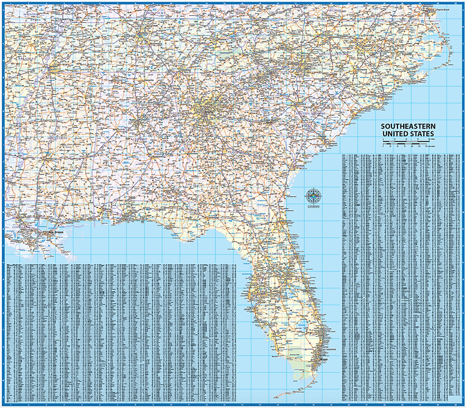 Southeast US Laminated Wall Map