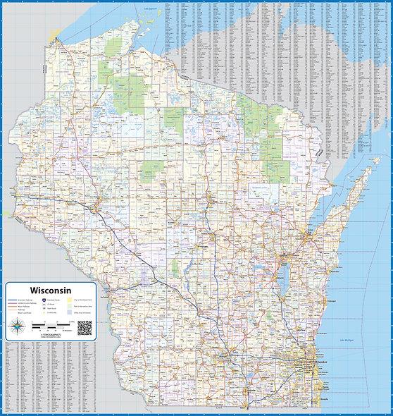 Wisconsin Laminated Wall Map