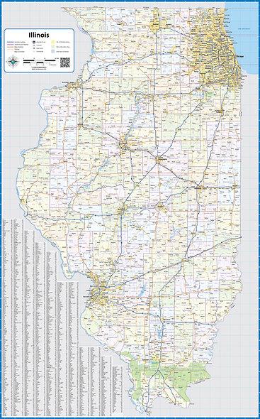 Illinois Laminated Wall Map