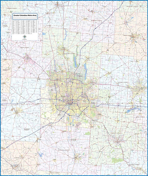 Greater Columbus Metro Laminated Wall Map