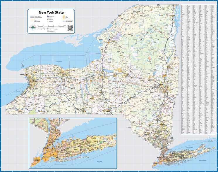 New York State Laminated Wall Map