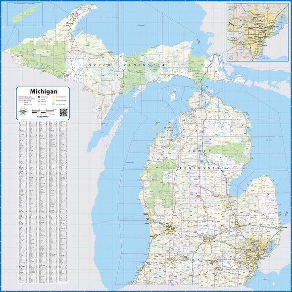 Michigan Laminated Wall Map