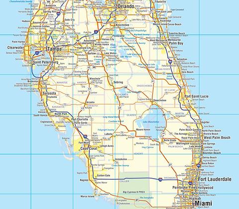 Southeast US Laminated Wall Map