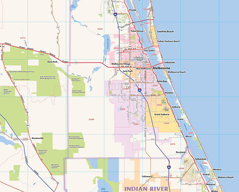 Central Florida Laminated Wall Map