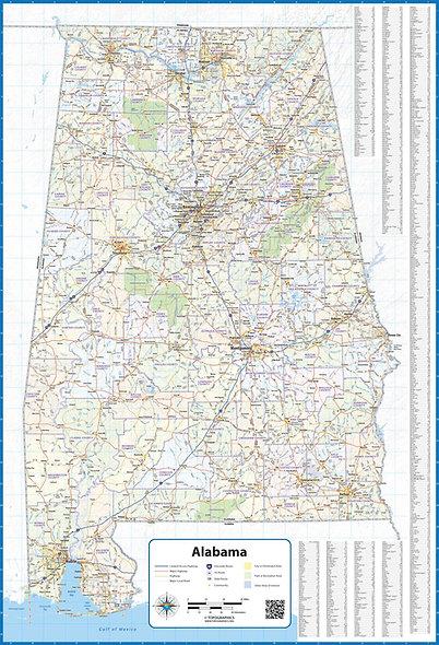 Alabama Laminated Wall Map