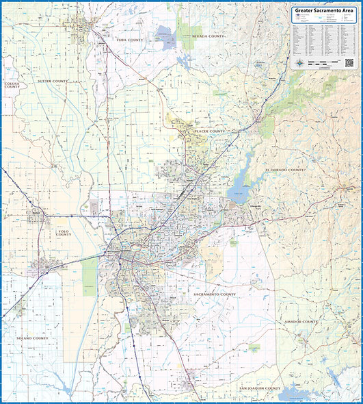 Greater Sacramento Area Laminated Wall Map