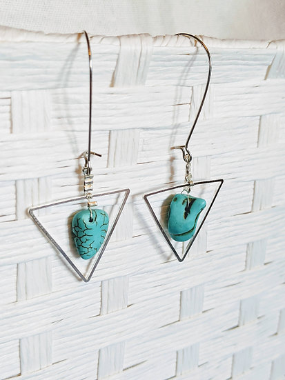 Turquoise Triangle Drop Earrings