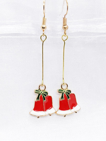 Christmas Bell Drop Enamel Earrings