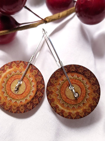 Wood Button Earrings