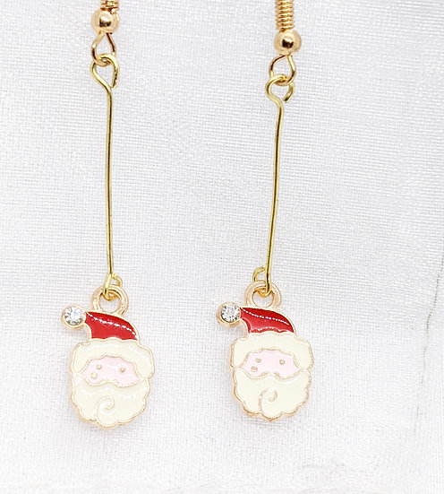 Santa Drop Enamel Earrings