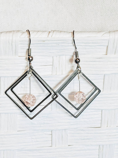 Pink Square Glass Bead Earrings