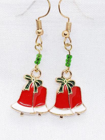 Christmas Bell Enamel Earrings