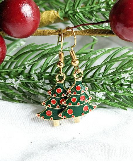 Christmas Tree Enamel Earrings