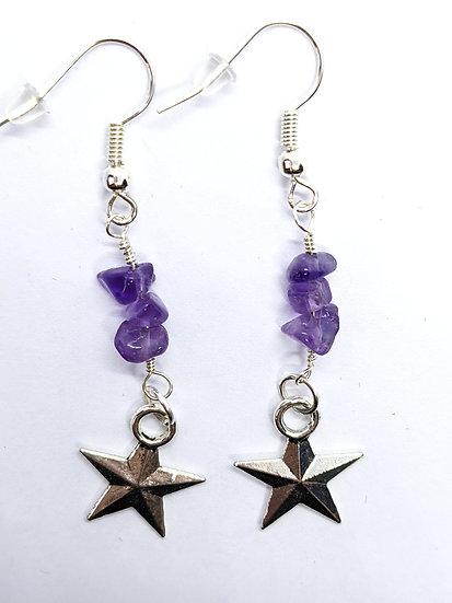 Amethyst Star Earrings