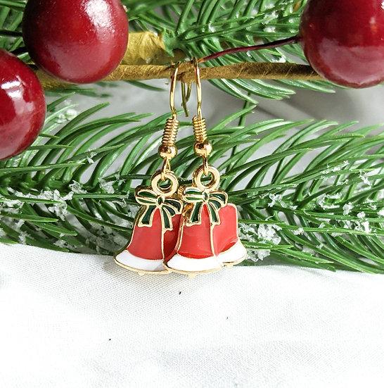 Christmas Bells  Enamel Earrings