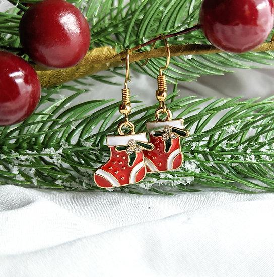 Stocking Enamel Earrings