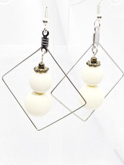 Snowman Square Earrings