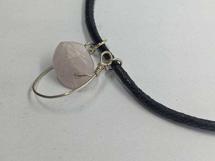 Rose Quartz Horseshoe Necklace