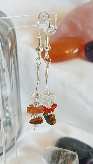 Orange Combo Gemstone Earrings