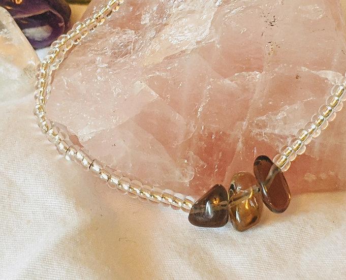 Smokey Quartz & Glass Bead Bracelet